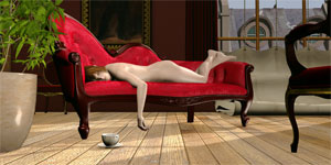Nude on Red Chaise 3D Lenticular